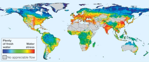 Global water availability, 'unmanaged' condition