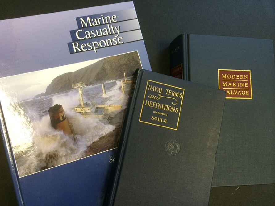 Nautical terms and marine salvage books.